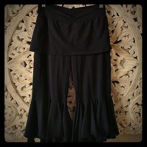 Black flare ruffled boho dance/yoga pant